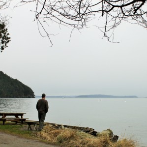 Nick taking a last look at West Beach before returning to the mainland
