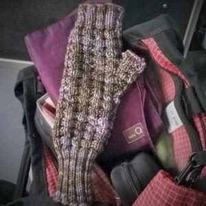 Ferry knitting the first waffle mitt