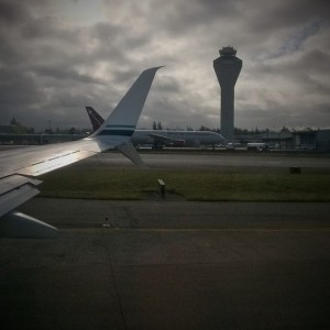 Cloudy take off to DC