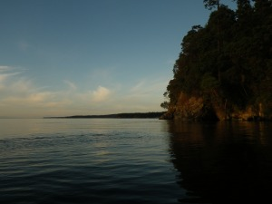 Kayaking with husband in Lover's Cove, Orcas Island