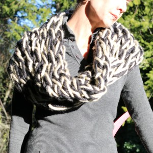 Arm Knitted Capelet out of Brucilla's Mega-Bulky in Linen and Charcoal