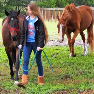 Nick's youngest daughter bringing in the horses