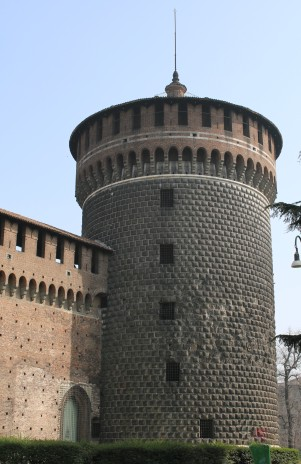 The Sforza Castle (roaded rocks to prevent scaling)